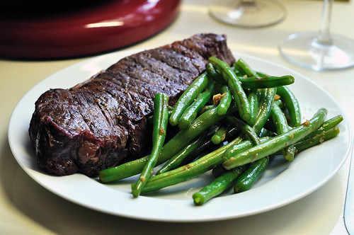 Kobe Steak and Green Beans