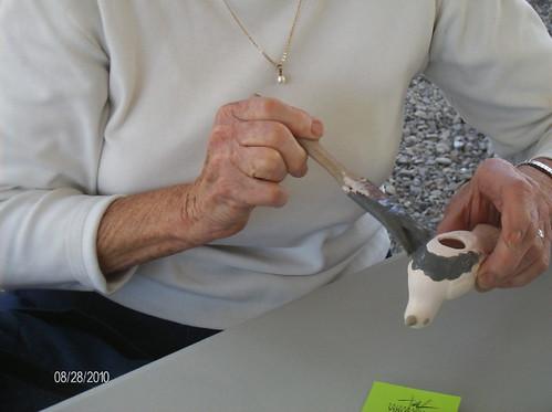 Grandma W. glazing her bird