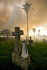 a fire in the cemetery (gsgeorge) Tags: california sunset blackandwhite cemetery grave fire losangeles amazing cross searchthebest santamonica smoke atmosphere haunted pico inferno blaze gawkers picoblvd smokecloud woodlawncemetery supershot structurefire picoboulevard structuralfire imperialmedia imperialmediaservices imperialmediacom
