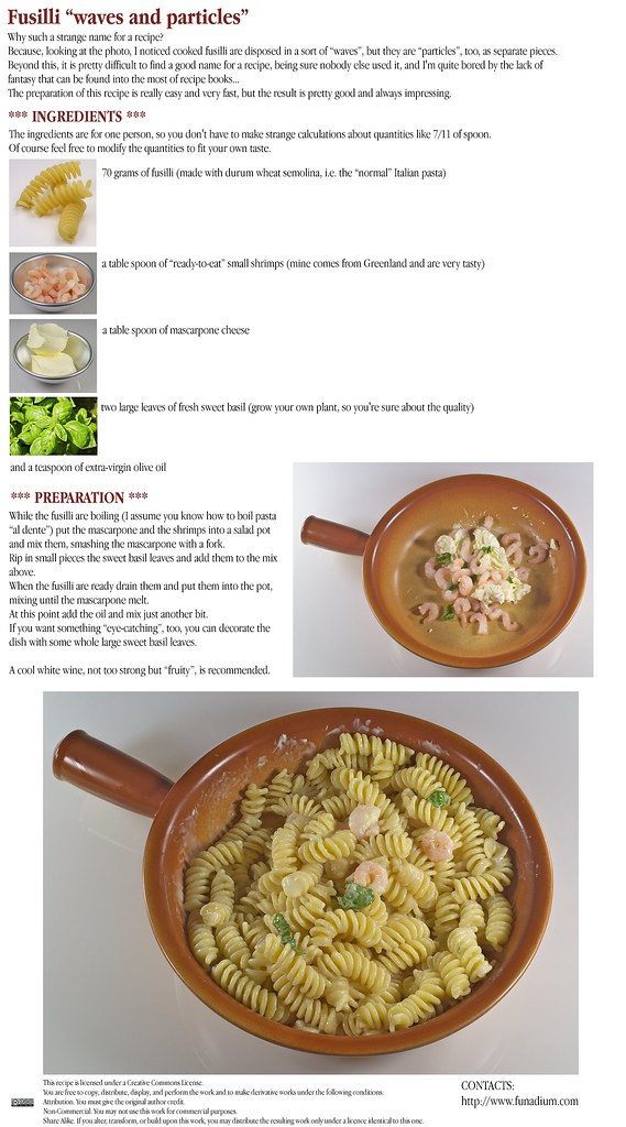 "Fusilli ""waves and particles"" - Photorecipe"