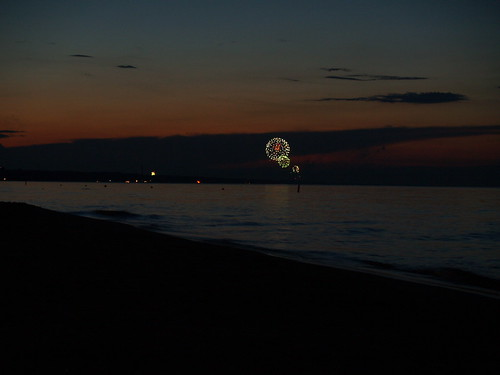 Distant fireworks along the lakefront