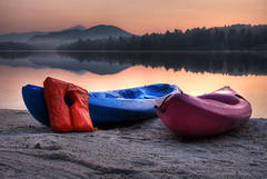 Mirror Lake Kayaks at Dawn (HDR-5xp) (Gregory Pleau) Tags: morning blue lake newyork beach water sunrise dawn mirror kayak violet resort hdr adirondack lifepreserver adk 5am lakeplacid blueribbonwinner 5xp anawesomeshot gregorypleau theunforgetablepictures picturethecure2008