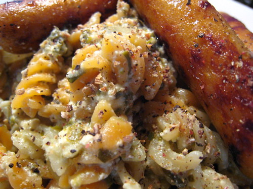 Pasta in Cheese and Spinach sauce with Satay Sausage