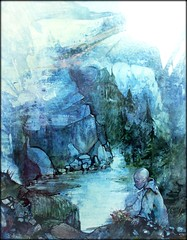 watercolor's blues (mario bellavite) Tags: flowers lake art water illustration watercolor sadness paint colours peace photos blu chinese blues peaceful son brush explore lonely youngman top20blue photosexplore mariobellavite