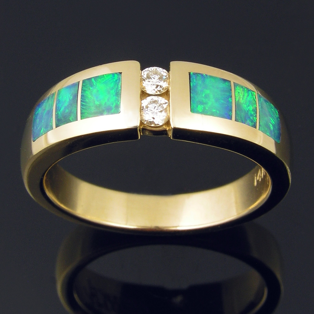 WD177 Australian opal inlay ring in 14k gold with diamonds