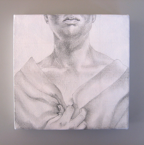 Self Portrait: Three Lucky Pennies, graphite underdrawing on canvas, 2010 by Sarah Atlee