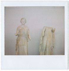 (Kristina) Tags: summer woman museum female polaroid island ancient head statues greece 1200 af spectra expired vacations cyclades delos panpola