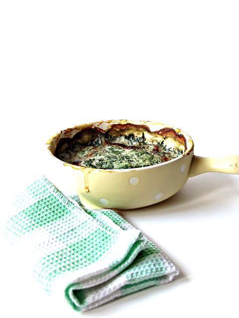 Cocotte di Patate e Funghi con Crema di Spinaci