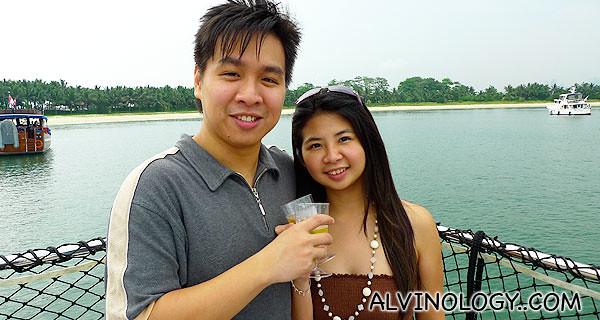 Mark and Meiyen enjoying their champagne