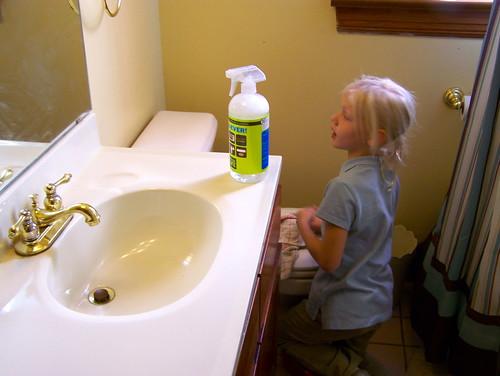 Washing the bathroom