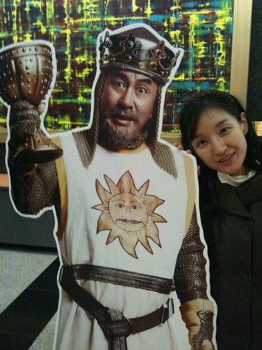 At the lobby of theater for Musical Spamalot