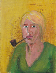 # 1484 vrouw (h e r m a n) Tags: woman art painting kunst smoke pipe schilderij smoking herman smoker vrouw pijp roker roken plankje vk pipesmoker smokingpipe tobaccopipe pijproker pijprookster