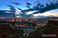 Taipei 101 Skyscraper (*Yueh-Hua 2013) Tags: camera sunset building tower architecture night skyscraper canon buildings eos fine taiwan tokina 101  taipei taipei101 dslr     1224mm    30d  101       canoneos30d horizontalphotograph t124  tokinaatx124proifdx1224mmf4 taipei101skyscraper taipei101internationalfinancialcenter 2007june tigerpeak