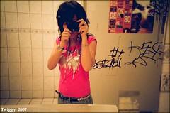 (Twiggy Tu) Tags: selfportrait film lomo lca echo blingbling nightlife rockband thewall twiggy girlswithcameras rocktshirt attoilet ilovepeachcolor ilikerockrollimarocker