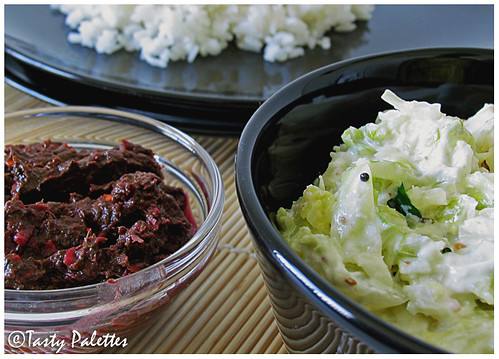 Cabbage Mor Kootu with Beet Leaves Thogayal