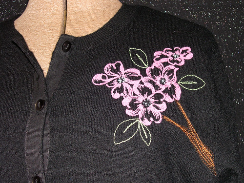 Cathy Pitters dogwood sweater