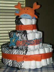 Crab Diaper Cake (kelli.bergin) Tags: blue orange baby cute diy unique crafts crab sealife diapers babyshower diapercake uniquegift nappycake uniquebabygifts uniquebabygift crabdiapercake