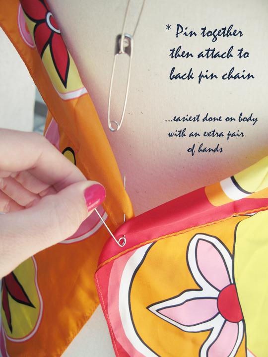 silk scarf DIY safety pin top -9