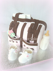 Diaper Bag Cake (springlakecake) Tags: baby cake bag shower bottle shoes diaper booties rattle gumpaste springlakecake