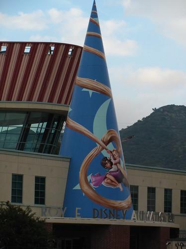 Rapuzel and Flynn featured on Sorcerer's Hat at Roy E. Disney Animation Building at Walt Disney Studios