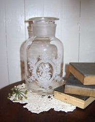 Etched Victorian Apothecary Jar020 (sixpenceandabluemoon) Tags: etched victorian clear medical glassjar candyjar apothocaryjar