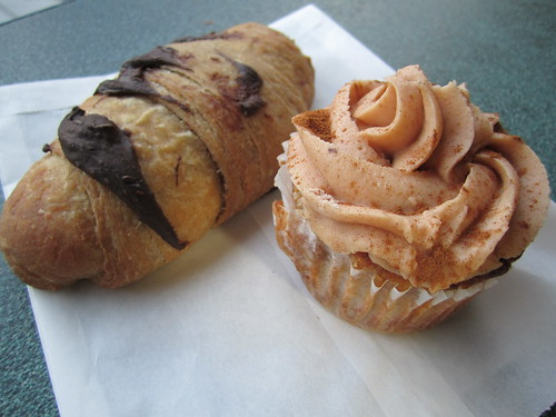 Vegan Chocolate Croissant and Pumpkin Spice Cupcake