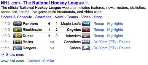NHL on Google