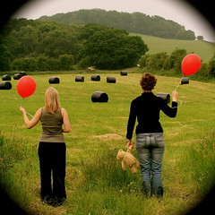 The red balloon diaries *4 (cattycamehome) Tags: uk girls red summer portrait england black colour green field june tag3 taggedout standing writing landscape countryside women bravo tag2 tag1 view teddy bright quote derbyshire  watching balloon dream surreal dreaming dreams vista hay eco umberto scripture diaries catherineingram supershot june2007 abigfave cattycamehome allrightsreserved redballoondiaries haybailing umbertoecco