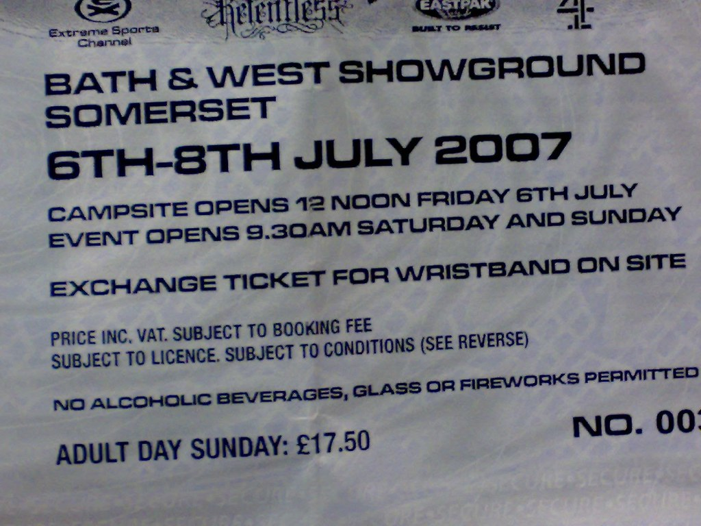 NASS2007 Sunday Adult Day Ticket £17.50 printed on ticket, £25.00 charged by event organisers!