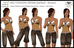 [MG fashion] DENIM belted - brown