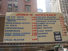 Carnegie John's Menu, Midtown NYC