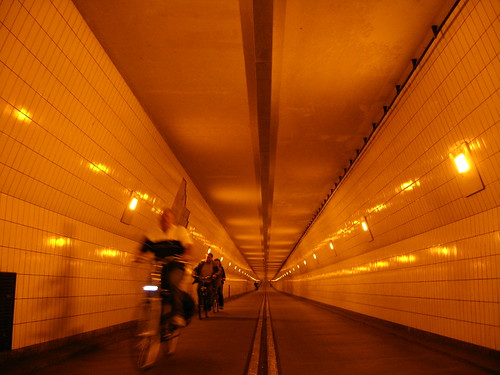Cycle tunnel under Nieue Maas, Rotterdam, The Netherlands