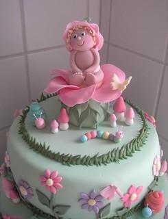 Garden christening cake topper