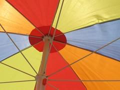 Colorful (**Camilla**) Tags: blue red orange geometric beach yellow umbrella canon catchycolors circle colorful angle vivid radiate multicolored santamonicacalifornia a640