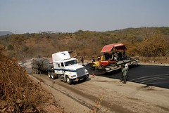 TRUCKING IN ZAMBIA (Claude  BARUTEL) Tags: africa road truck construction transport chinese zambia trucking