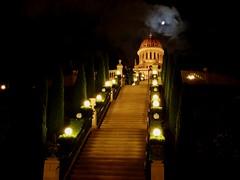 (elliott   v) Tags: moon clouds stairs lights israel shrine terraces cypress bahai haifa bwc bab mtcarmel mountcarmel bahaiworldcentre