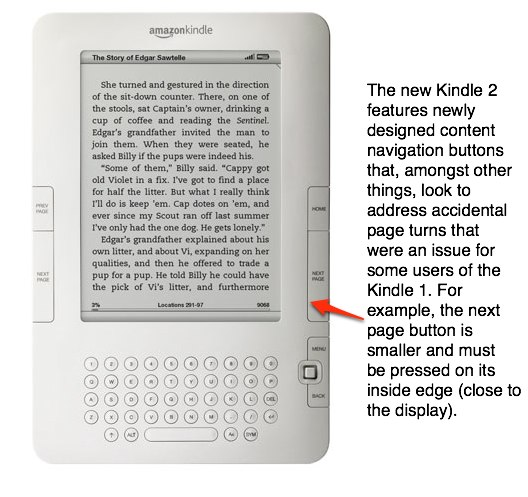 Kindle 2 With Its New Navigation Buttons