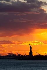 NY Sunset (B:W) Tags: sunset newyork clouds statueofliberty