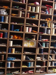 Spools, ribbons, and ric rac oh my! (itchinstitchin) Tags: thread spools ribbons lace sewing craft storage binding ricrac notions
