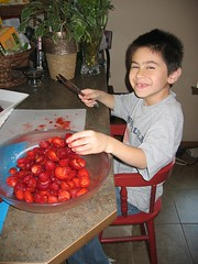 My Son Slicing Stawberries