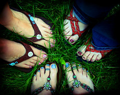Trio of Feet (Kerrie Lynn Photography (Sugaree_GD)) Tags: pink blue feet tattoo foot lomo toes toe sandals painted nails views barefoot flipflops pedicure trio candies 1000 toenails sugareegd nicholevanvignette coolestphotographers