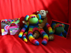 So much Monkey goodness! (Eskimimi) Tags: friends cute toy monkey rainbow sock funny soft bright monkeys colourful rainbows stufed siansburys