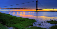 Humber Bridge Panoramic Sunset (Corica) Tags: sunset landscape panoramic hdr humberbridge panoramamaker photomatix canon1755mm canon400d