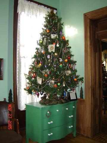 tree on green dresser