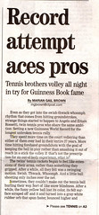 Connecticut Post, August 20, 2007, Front Page (Rossetti Brothers Tennis) Tags: rally tennis longest
