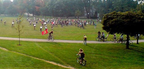 Critical Mass Ride arriving in Victoria Park