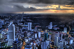 Dusk in the City (Stuck in Customs) Tags: pictures lighting light panorama art texture colors lines modern composition work reflections painting photography intense nikon perfect exposure shoot artist mood photographer shot angle photos unique background details d2x perspective atmosphere images best edge malaysia processing pro kualalumpur framing capture drama tones hdr masterpiece kltower treatment mostviewed highquality stuckincustoms treyratcliff