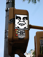 Graffiti Stickers of Andre the Giant Obey 1009 (Brechtbug) Tags: new york city by giant graffiti artist stickers obey andre bowery fairey crosswalk signal shepard 5132010