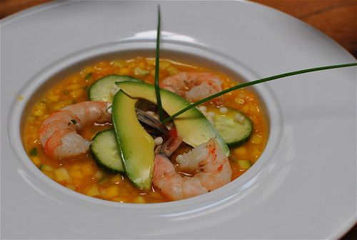 Golden Gazpacho With Poached Shrimp