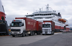 Volvo FH12 and Renault - Nor Lines (scanair1) Tags: city lines truck volvo harbour terminal cargo renault transportation nor freight